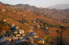 The village of Deurali, Dolakha basked in morning sunlight