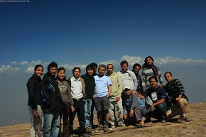 The hiking team atop Sailung hill