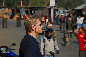 Mark watching bandh at Naubise