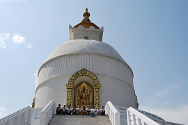 Stupa guarded by modern EU monks and nuns