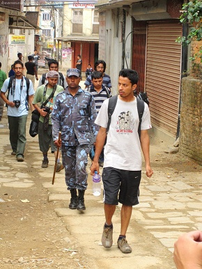 Rajiv with his crew escorted by Police as it was nuwakot bandh by Neapl Bidhyarthi Sangh