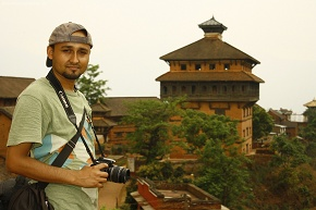 My Nepal - My Pride Sangharsha in Taleju temple alongside backdrop of Nuwakot palace durbar square