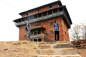 Not Aware in Taleju temple Nuwakot the trio inspecting the unattended uncared temple that is falling down anytime soon
