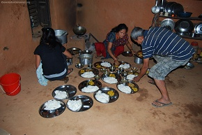 Typical Nepali Khana being ready for dinner in typical nepali kitchen nuwakot palace buspark