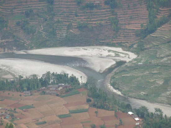 Beautiful village on the bank of Indrawati river