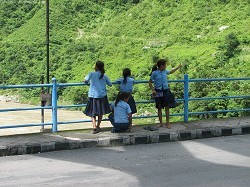 Kids strolling around Trishuli river
