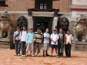 In front of Durbar Square museum