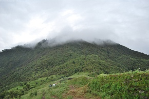 The place where we spent the night was behind this hill and under the cloud