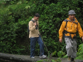 Charan and Subash over log bridge