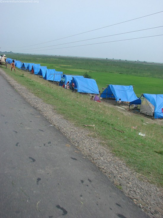 Tents for the flood victims