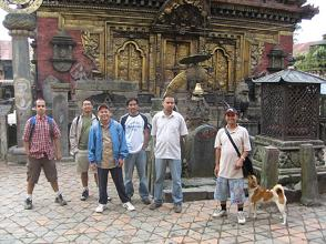The gang with the Changu temple on the background