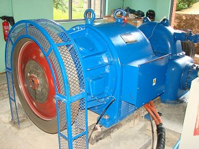 A water turbine in operation