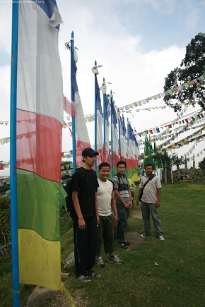 Beside the flags