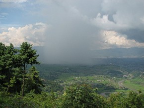 Rainfall in Kathmandu seen from Hattiban