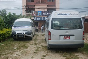 Vans parked outside Hotel Godhuli in Lahan