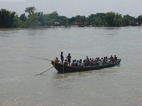 Boat ferrying passengers across to the other side of east Nepal