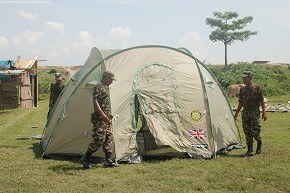 Army jawans setup tents from British Rotary