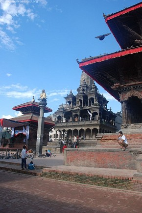 Temple and the clear sky, rejuvenates the festival mood