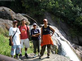 Group pose against the Syalmati falls