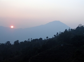 sun set from cable car, manakamana