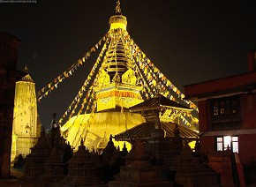 Swayambhu turned golden on the eve of Laxmi Puja