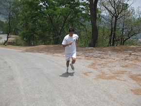 Bhuwan starts his uphill run...