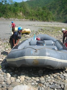 21. inflating the raft