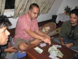 Even managed to play cards for a while at Bhaskar dai's place