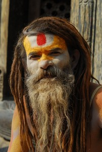 The sadhu poses for the camrea
