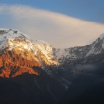 Annapurna South (7219m) and Hiunchuli (6434m) from Chhomrong at sunrise