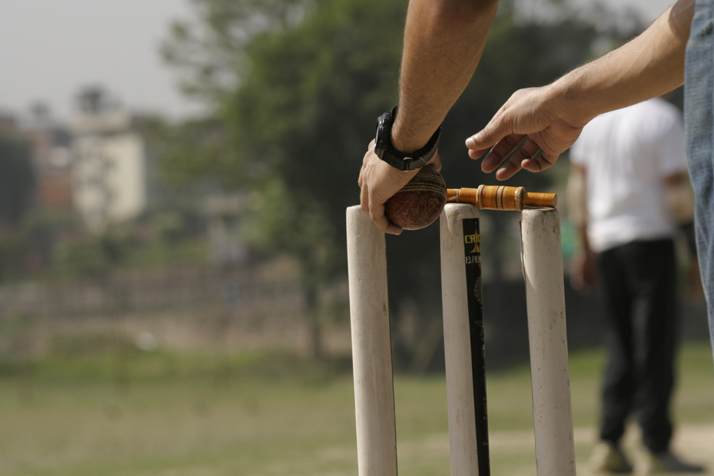 cricket bat and ball and stumps. 13 – bell all and stump