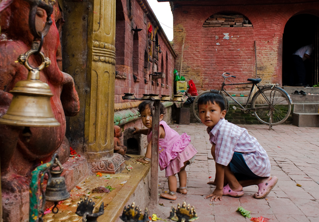 Kids Playing behind Chamunda Temple