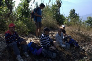 Deerwalk Inc Team rests a while after tiring walk and missing in picture are Rudra Pandey and obviously Photographer Sushant Pokharel