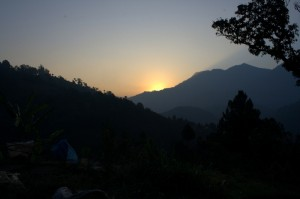 The Sunrise on Day 2 of Trekking Still many many hours to trek through unknown terrain jungles rivers and streams