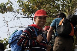 before long uphill trekking a smile to help others to follow