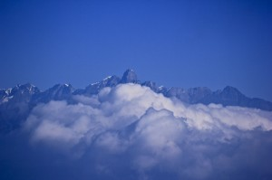 Himalayas wearing a thick cloud like blanket