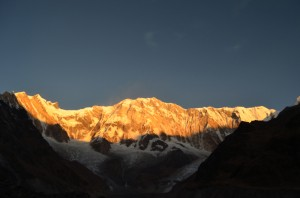 Sun painting on Annapurna III canvas