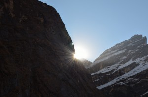 Playing Hide and Seek with emerging sun in Mountains