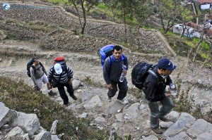 12. There were steep stairs all the way to the top