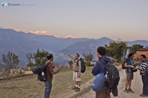 26. Hikers could stop admiring the beauty of the Himalayas