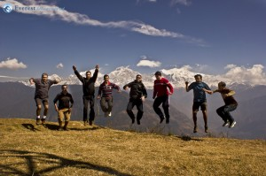 47. at 12 pm we reached to our destination and everyone jumping with joy after seeing the beauty of the himalayas