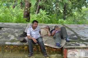 10. Ishwor, Basanta, Kanchan lazily resting on mid way to Maula Kalika