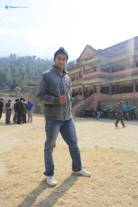 41. Posing infront of the school.