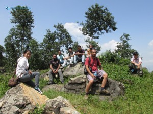 18.Hikers on the rock at the top