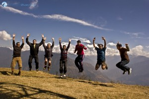 5. Deerwalkers jumping with joy at Ghale Gaun