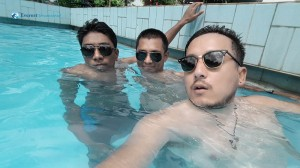 27. goggles on pool