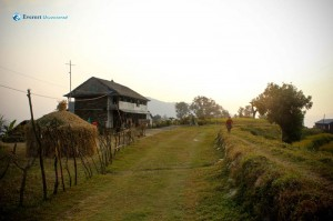 7. Beatutiful view of a typical village house during sunset