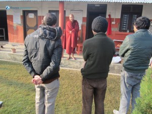 27. Three vipassana followers listen to Bhante ji
