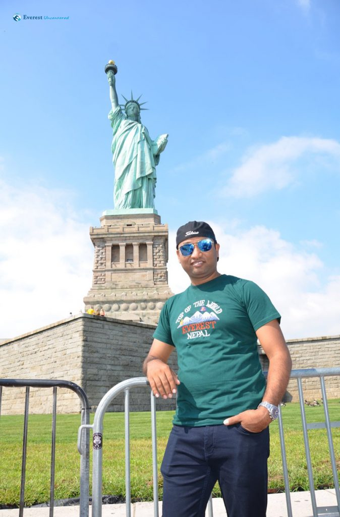 With Statue of Liberty