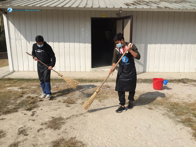 6 Barshesh And Roshan Cleaning The Compound